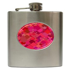 Red Background Pattern Square Hip Flask (6 Oz)