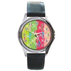 Question Mark Problems Clouds Round Metal Watch