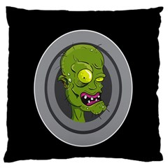 Zombie Pictured Illustration Large Flano Cushion Case (one Side)