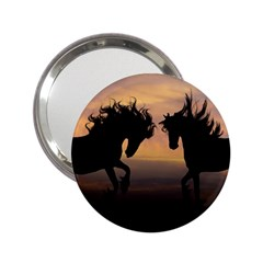 Horses Sunset Photoshop Graphics 2 25  Handbag Mirrors by Sapixe