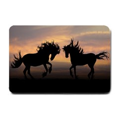 Horses Sunset Photoshop Graphics Small Doormat  by Sapixe