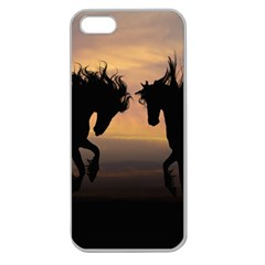 Horses Sunset Photoshop Graphics Apple Seamless Iphone 5 Case (clear)