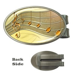 Music Staves Clef Background Image Money Clips (oval)