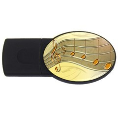 Music Staves Clef Background Image Usb Flash Drive Oval (2 Gb)