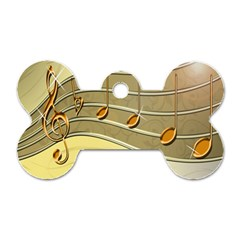 Music Staves Clef Background Image Dog Tag Bone (two Sides) by Sapixe