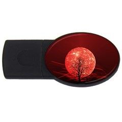 The Background Red Moon Wallpaper Usb Flash Drive Oval (4 Gb)