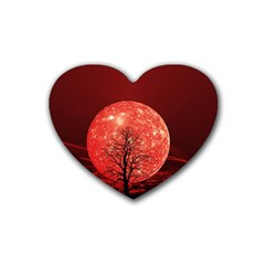 The Background Red Moon Wallpaper Heart Coaster (4 Pack)