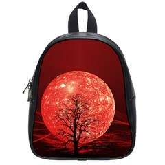 The Background Red Moon Wallpaper School Bag (small) by Sapixe
