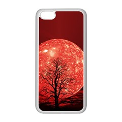 The Background Red Moon Wallpaper Apple Iphone 5c Seamless Case (white) by Sapixe