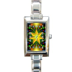 Christmas Star Fractal Symmetry Rectangle Italian Charm Watch