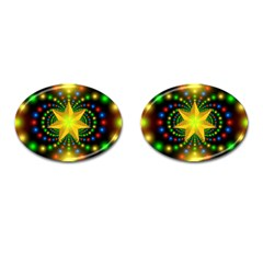 Christmas Star Fractal Symmetry Cufflinks (oval) by Sapixe