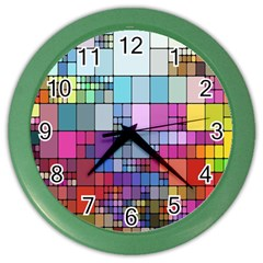 Color Abstract Visualization Color Wall Clocks by Sapixe