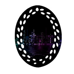 City Night Skyscrapers Oval Filigree Ornament (two Sides) by Sapixe