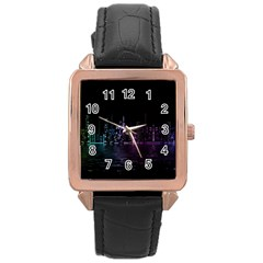 City Night Skyscrapers Rose Gold Leather Watch