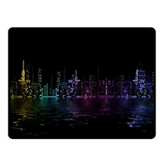 City Night Skyscrapers Double Sided Fleece Blanket (small)