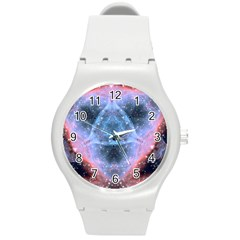 Sacred Geometry Mandelbrot Fractal Round Plastic Sport Watch (m) by Sapixe