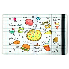 Colorful Doodle Soda Cartoon Set Apple Ipad 2 Flip Case by Sapixe