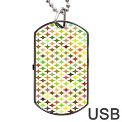 Background Multicolored Star Dog Tag Usb Flash (two Sides)