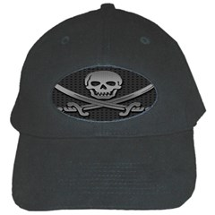 Skull Metal Background Carved Black Cap by Sapixe