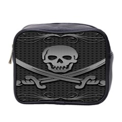 Skull Metal Background Carved Mini Toiletries Bag 2 Side by Sapixe