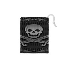 Skull Metal Background Carved Drawstring Pouches (xs)