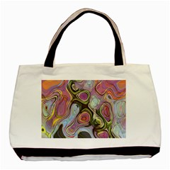 Retro Background Colorful Hippie Basic Tote Bag by Sapixe