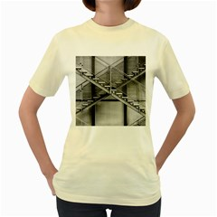 Architecture Stairs Steel Abstract Women s Yellow T Shirt