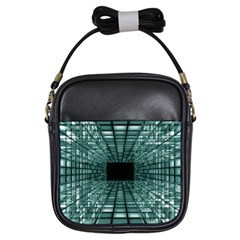 Abstract Perspective Background Girls Sling Bags by Sapixe