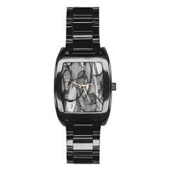 Abstract Black And White Background Stainless Steel Barrel Watch