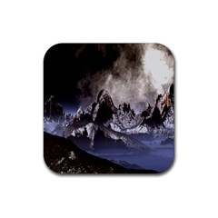 Mountains Moon Earth Space Rubber Coaster (square)