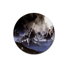 Mountains Moon Earth Space Magnet 3  (round) by Sapixe