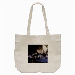 Mountains Moon Earth Space Tote Bag (cream) by Sapixe