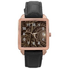 Abstract Pattern Graphics Rose Gold Leather Watch