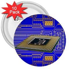 Processor Cpu Board Circuits 3  Buttons (10 Pack)  by Sapixe