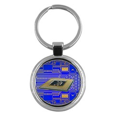 Processor Cpu Board Circuits Key Chains (round)  by Sapixe