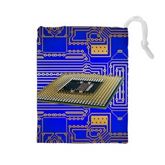 Processor Cpu Board Circuits Drawstring Pouches (large)  by Sapixe