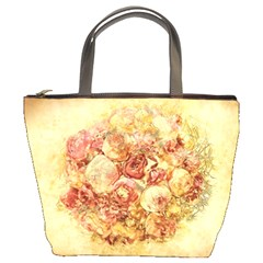 Vintage Digital Graphics Flower Bucket Bags by Sapixe