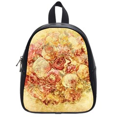 Vintage Digital Graphics Flower School Bag (small) by Sapixe