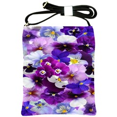 Graphic Background Pansy Easter Shoulder Sling Bags by Sapixe