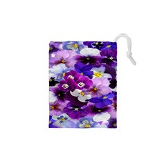 Graphic Background Pansy Easter Drawstring Pouches (xs)  by Sapixe