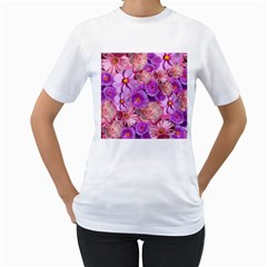 Flowers Blossom Bloom Nature Color Women s T Shirt (white) (two Sided)