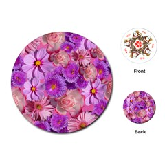 Flowers Blossom Bloom Nature Color Playing Cards (round)  by Sapixe
