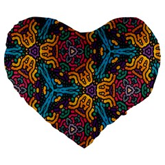 Grubby Colors Kaleidoscope Pattern Large 19  Premium Heart Shape Cushions