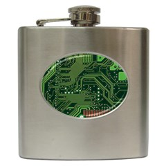 Board Computer Chip Data Processing Hip Flask (6 Oz) by Sapixe