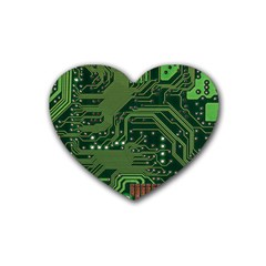 Board Computer Chip Data Processing Rubber Coaster (heart)