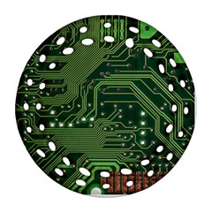 Board Computer Chip Data Processing Round Filigree Ornament (two Sides) by Sapixe