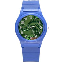 Board Computer Chip Data Processing Round Plastic Sport Watch (s) by Sapixe