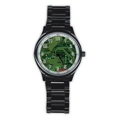 Board Computer Chip Data Processing Stainless Steel Round Watch