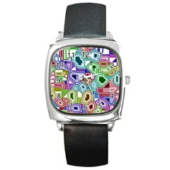 Board Interfaces Digital Global Square Metal Watch by Sapixe