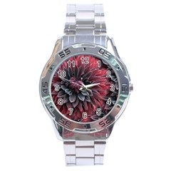 Flower Fractals Pattern Design Creative Stainless Steel Analogue Watch by Sapixe